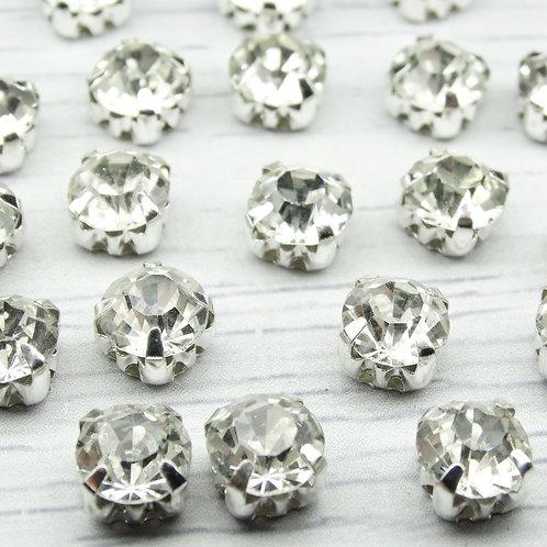 СЦ001НН88 Хрустальные стразы Белые в металлических цапах (серебро), 8х8мм.
