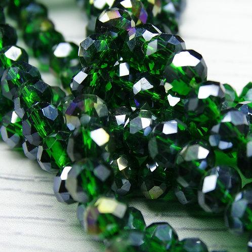 БП022ДС46 Хрустальные бусины, цвет: темно-зеленый (с покрытием), размер: 4х6 мм.