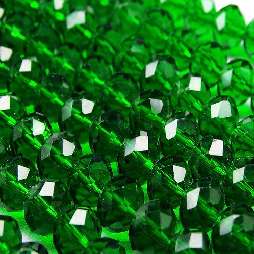 БП022НН68 Хрустальные бусины, цвет: темно-зеленый (без покрытия), 6х8 мм.