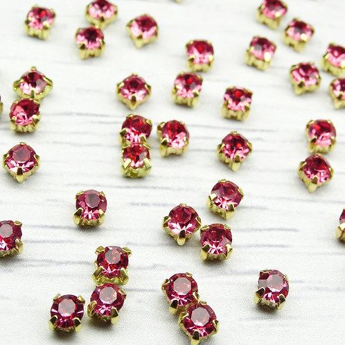ЗЦ009НН44 Хрустальные стразы Розовые в металлических цапах (золото) 4х4мм.