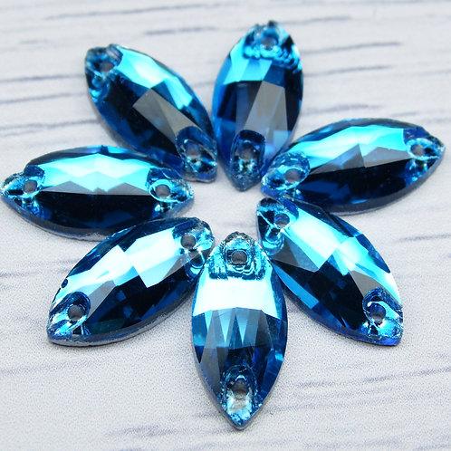 МИ006НН715 Хрустальные стразы (миндаль) пришивные, цвет: голубой, 7х15 мм, 1 шт.