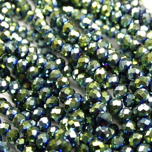 БЛ004НН34 Хрустальные бусины, цвет: зеленый (металлик), размер: 3х4 мм.
