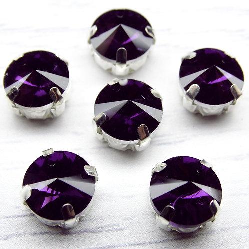 РЦ012НН10 Хрустальные стразы в цапах круглые, цвет: фиолетовый, 10 мм, 1 шт.