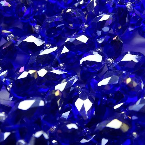 БК009ДС612 Хрустальные бусины-капли, синий (с покрытием), 6х12 мм,10 шт.