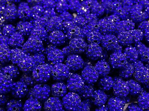 ДШ002НН10 Бусины из полимерной глины и страз, цвет: синий, размер 10 мм, 1 шт.