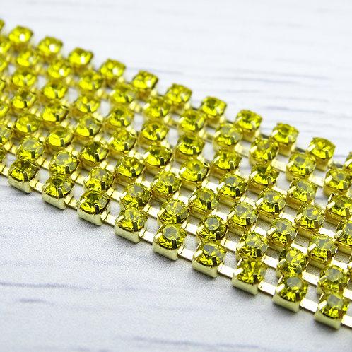 ЦС008ЗЦ3 Стразовые цепочки (золото), цвет: Желтый, размер: 3 мм, 30 см/упак.