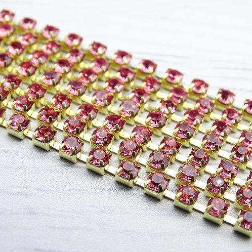 ЦС006ЗЦ3 Стразовые цепочки (золото), цвет: Розовый, размер: 3 мм, 30 см/упак.
