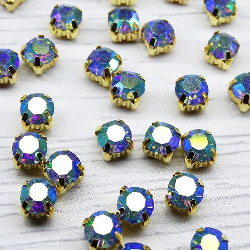 ЗЦ006ДС66 Хрустальные стразы в цапах, Светло-синий с покрытием (золото) 6 мм