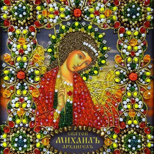 Ткань с нанесенной авторской схемой Святой Архангел Михаил