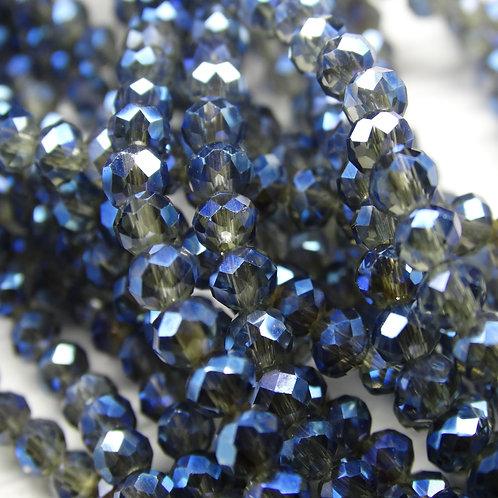 БП028ДН34 Хрустальные бусины, цвет: черный (с синим покрытием), размер: 3х4 мм.