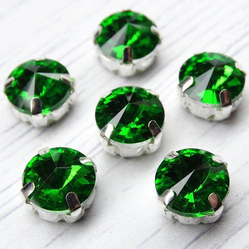 РЦ017НН10 Хрустальные стразы в цапах круглые, цвет: зеленый, 10 мм, 1 шт.