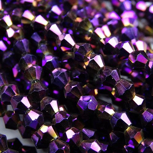 """ББЛ005НН3 Хрустальные бусины """"биконус"""", фиолетовый металлик, 3 мм"""