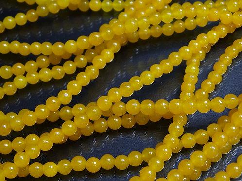 ПК004НН6 Бусины из природного камня агат (желтый), размер: 6 мм, 1 шт.