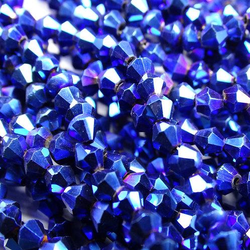 """ББЛ006НН4 Хрустальные бусины """"биконус"""", синий металлик, 4 мм"""