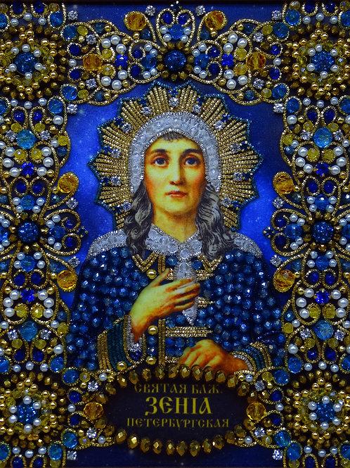 Ткань с нанесенной авторской схемой Святая Ксения Петербургская