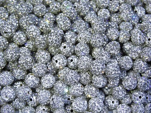 ДШ001НН10 Бусины из полимерной глины и страз, цвет: белый, размер 10 мм, 1 шт.