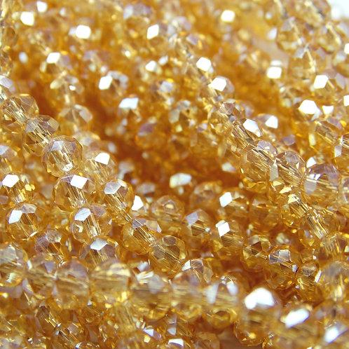 БП003ДС34 Хрустальные бусины, цвет: шампанское (с покрытием), размер: 3х4 мм.