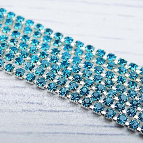 ЦС003СЦ2 Стразовые цепочки (серебро), цвет: Голубой, размер: 2 мм, 30 см/упак.