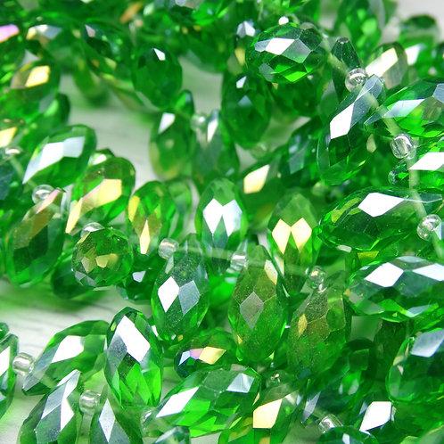 БК006ДС612 Хрустальные бусины-капли, зеленый (с покрытием),  6х12 мм, 10 шт.