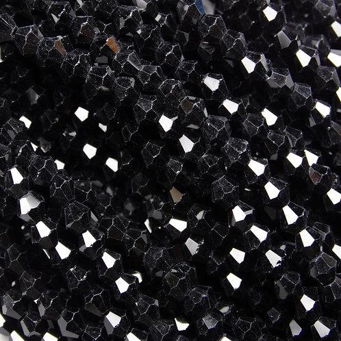 """ББН008НН3 Хрустальные бусины """"биконус"""", черный непрозрачный (без покрытия), 3 мм"""