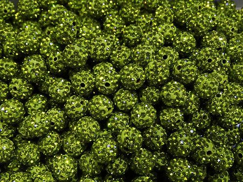 ДШ011НН8 Бусины из полимерной глины и страз, цвет: салатовый, размер 8 мм, 1 шт.