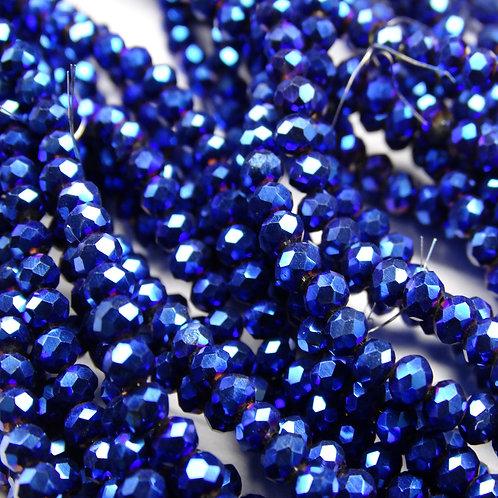 БЛ006НН23 Хрустальные бусины, цвет: синий (металлик), размер: 2х3 мм.