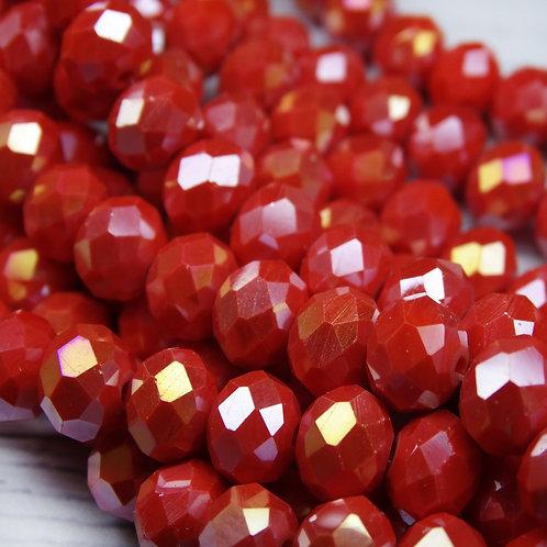 БН002ДС68 Хрустальные бусины, цвет: красный непрозрачный (с покрытием), 6х8 мм.