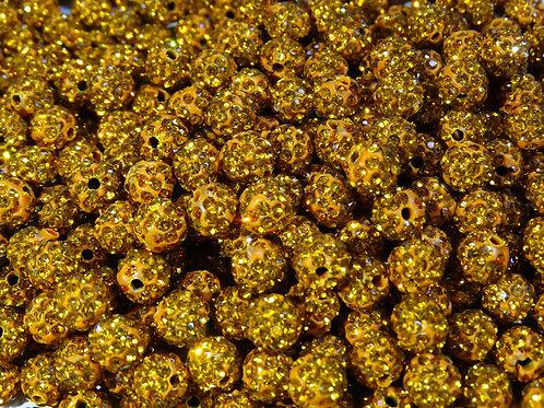 ДШ006НН8 Бусины из полимерной глины и страз, цвет: оранжевый, размер 8 мм, 1 шт.