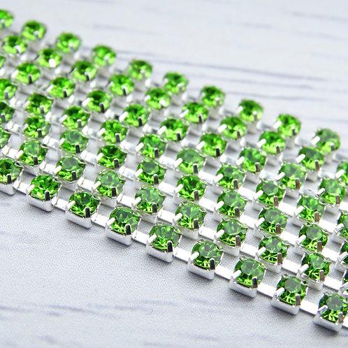 ЦС009СЦ3 Стразовые цепочки (серебро), цвет: Зеленый, размер: 3 мм, 30 см/упак.