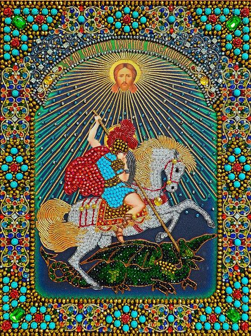 Ткань с нанесенной авторской схемой Чудо Святого Георгия Победоносца о змие