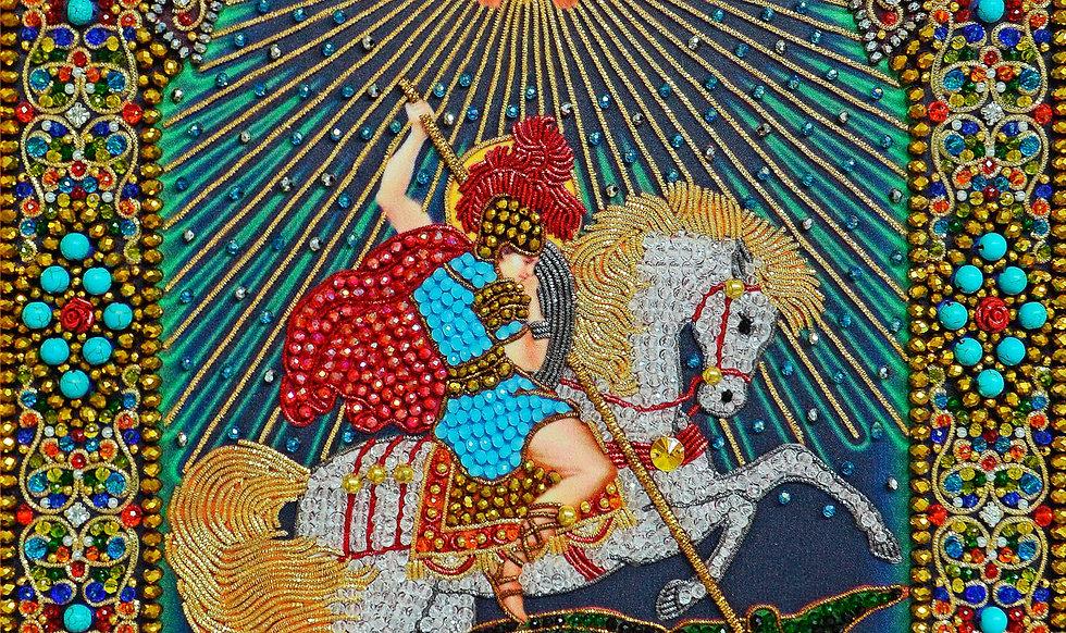 Набор для вышивания хрустальными камнями Чудо Святого Георгия Победоносца о змие
