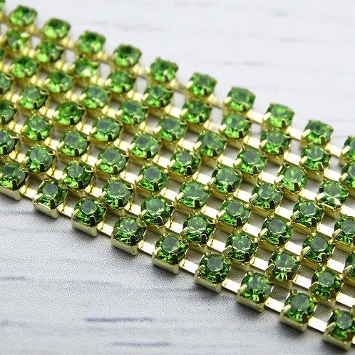 ЦС009ЗЦ3 Стразовые цепочки (золото), цвет: Зеленый, размер: 3 мм, 30 см/упак.