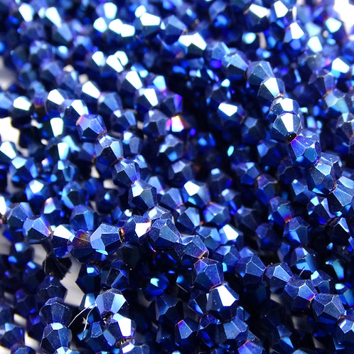 """ББЛ006НН3 Хрустальные бусины """"биконус"""", синий металлик, 3 мм"""