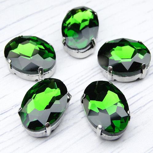 ОЦ008НН1318 Хрустальные стразы в цапах овальные, цвет: зеленый, 13х18 мм, 1 шт.