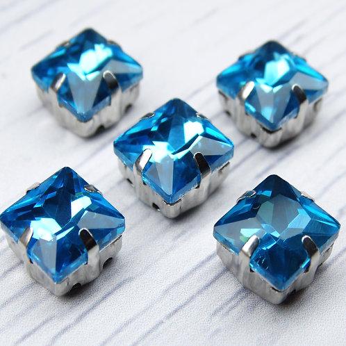 КЦ005НН8 Хрустальные стразы в цапах, цвет: голубой, размер: 8х8 мм, 1 шт.
