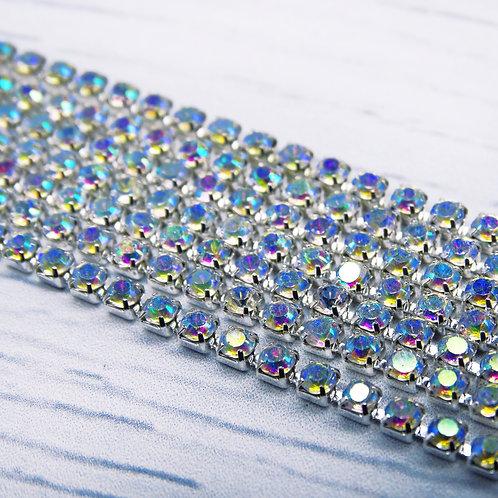 ЦС002СЦ2 Стразовые цепочки (серебро), цвет: Белый АБ, размер: 2 мм, 30 см/упак.