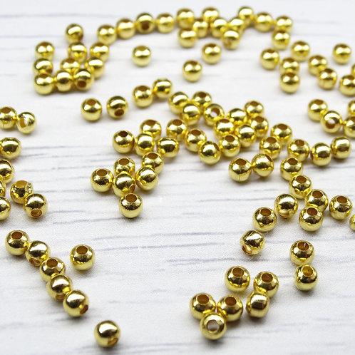 БЗ001НН3 Металлические бусины (позолота), размер: 3 мм, 5 грамм.