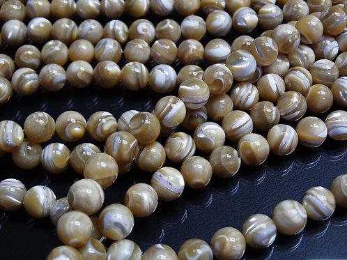 ПК002НН10 Бусины из природного камня агат (бежевый), размер: 10 мм, 1 шт.