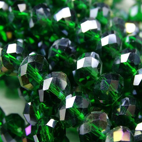 БП022ДС68 Хрустальные бусины, цвет: темно-зеленый (с покрытием), размер: 6х8 мм.