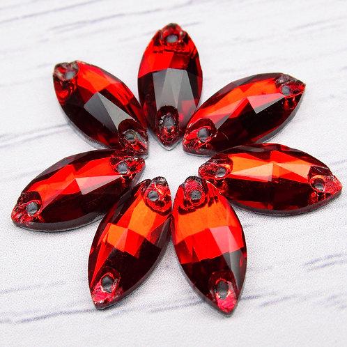 МИ003НН715 Хрустальные стразы (миндаль) пришивные, цвет: красный, 7х15 мм, 1 шт.