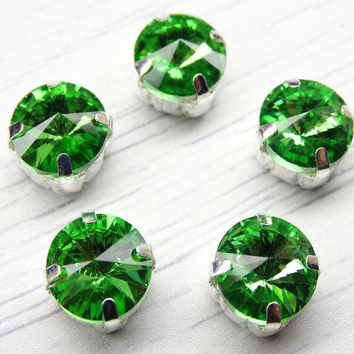 РЦ016НН12 Хрустальные стразы в цапах круглые, цвет: светло-зеленый, 12 мм, 1 шт.