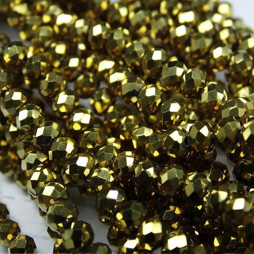 БЛ002НН34 Хрустальные бусины, цвет: золото (металлик), размер: 3х4 мм.