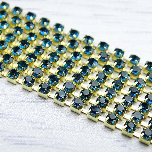 ЦС004ЗЦ3 Стразовые цепочки (золото), цвет: Лазурный, размер: 3 мм, 30 см/упак.
