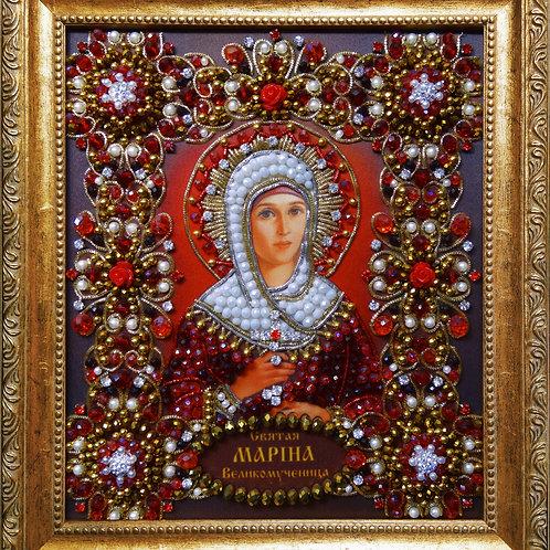 Ткань с нанесенной авторской схемой Святая Марина (Маргарита)