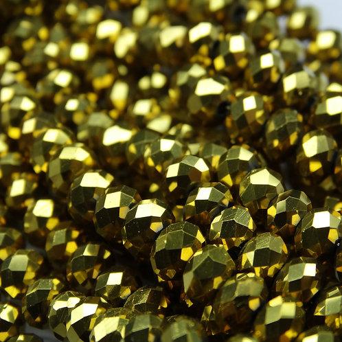 БЛ002НН46 Хрустальные бусины, цвет: золото (металлик), размер: 4х6 мм.