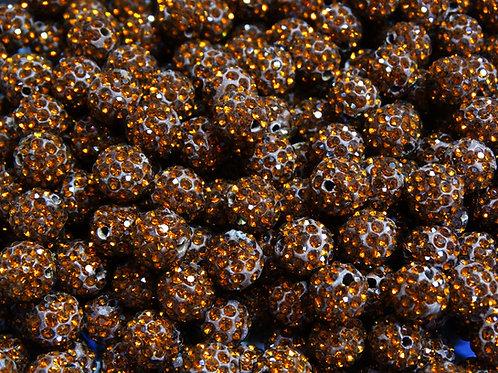 ДШ010НН10 Бусины из полимерной глины и страз, цвет: коричневый, 10 мм, 1 шт.