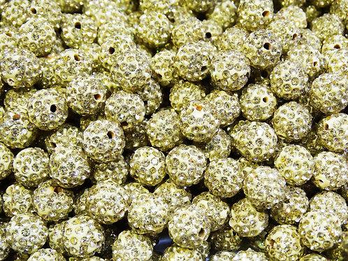 ДШ014НН10 Бусины из полимерной глины и страз, цвет: светло-желтый, 10 мм, 1 шт.