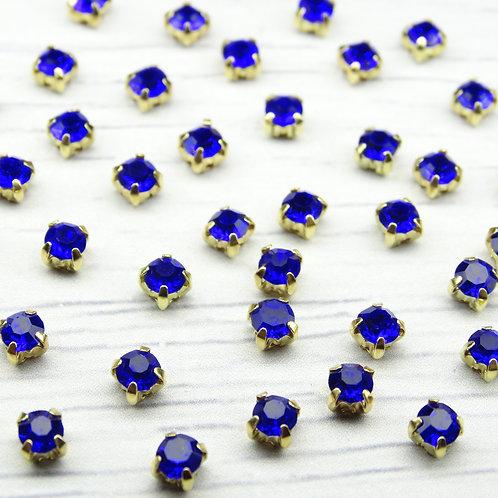 ЗЦ007НН44 Хрустальные стразы Сапфировые в металлических цапах (золото) 4х4мм.
