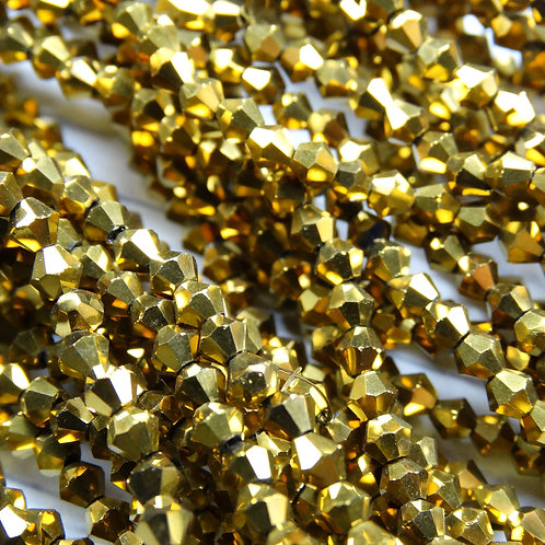 """ББЛ002НН3 Хрустальные бусины """"биконус"""", золото металлик, 3 мм"""