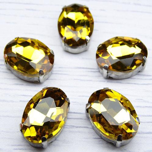 ОЦ004НН1318 Хрустальные стразы в цапах овальные, цвет: желтый, 13х18 мм, 1 шт.